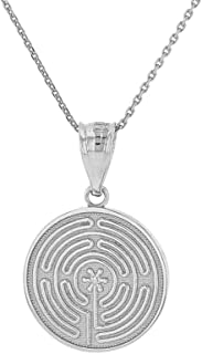Dainty 925 Sterling Silver Chartres Meditation Labyrinth Disc Pendant Necklace