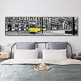 Vintage Black Yellow City Tram Street Stampe su tela Poster Wall Art Paesaggio Dipinti su tela per Living Room Home Decor 50x200 CM (sans cadre)