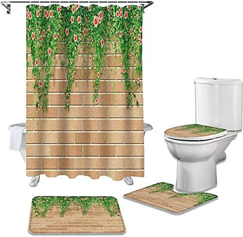De Flores y Hojas Verdes Azulejos de Pared Cubierta de Inodoro Alfombrilla de baño Antideslizante Cortina de Ducha Impermeable Decoración de baño 180X180Cm (71X71Inch)
