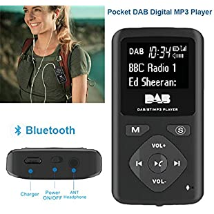 johlye Portable Pocket DAB Radio, Wireless Mini Handy Digital Rechargeable FM Radio Bluetooth MP3 Player With Earphone for Walk:Videomesum