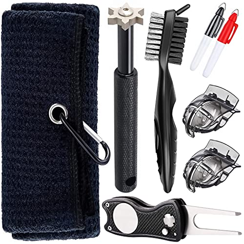 Golf Towel and Golf Bag Accessories - Comes with a Golf Towel, Golf Groove Sharpener, Divot Repair Tool, Golf Club Brush, Golf Ball Marker. This are The Perfect Golf Accessories for Men and Women