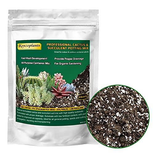 Succulents & Cactus Soil Mix, Professional Potting Soil, Fast Draining Pre-Mixed Blend,...