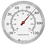 Bjerg Stainless Steel Wall Thermometer, 12 Inch, Round Accurate Readings for Home, Garage, Pool, Office, Kitchen and Patio Wall Thermometer (Silver)