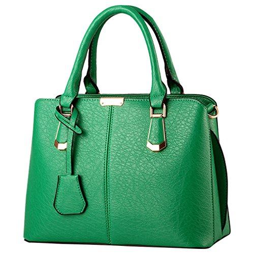 MissFox Borsa Messenger Donna Vintage Cerniera Design Tote Verde