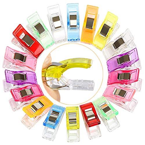 AN Clip Cucito,100 Pezzi Mollette Cucito,Clip in Tessuto Multifunzionale Clip in Plastica Accessori per Cucire,Nove Diversi Colori