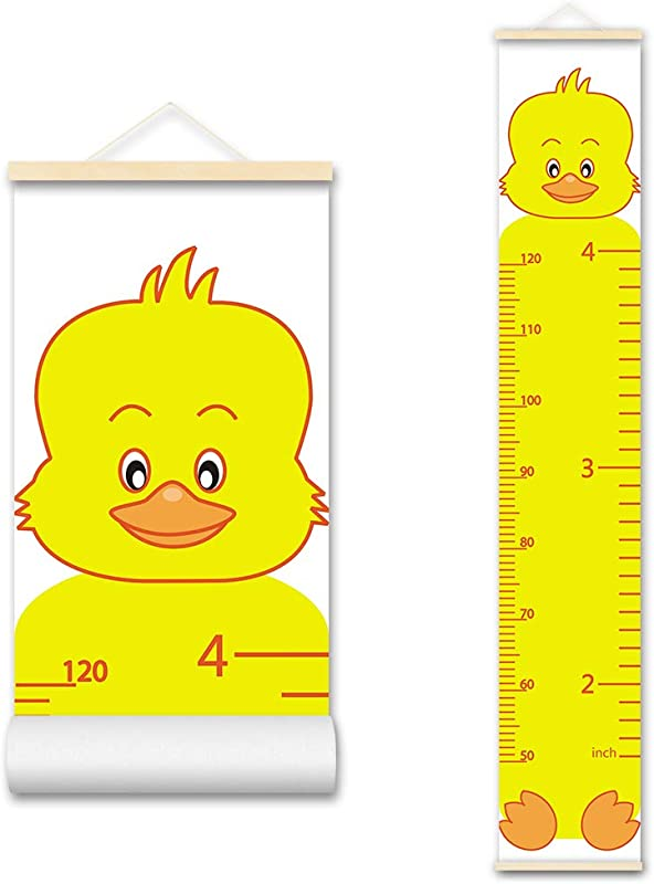 ASENART Cartoon Animal Duck Kids Growth Chart Wood Frame Fabric Canvas Waterproof Hanging Height Measurement Ruler From Baby To Adult For Child S Room Decoration
