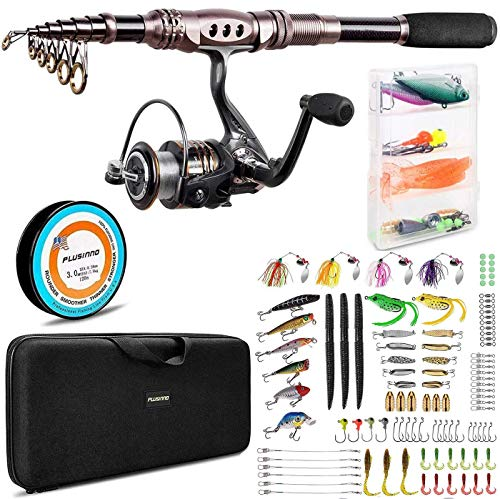 PLUSINNO Fishing Rod and Reel Combos, 102Pcs Fishing Lures,Saltwater Freshwater Resistant Fishing Gear