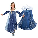 Dress only, made with polyester velvet, cotton, organza Long sleeve dress made with thin, light and soft velvet Faux fur collar, dress attached with light organza cape Match with all Princess Accessories Hand wash only, no tumble dry, do not bleach