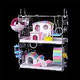 Nynelly Jaula para Hamster de 2 niveles con tubos de túnel cruzados y jaula transparente Acrílico, accesorios incluidos, rueda de ejercicio, cuarto de baño exterior, Hamster, 30 x 20 x 40 cm, grande