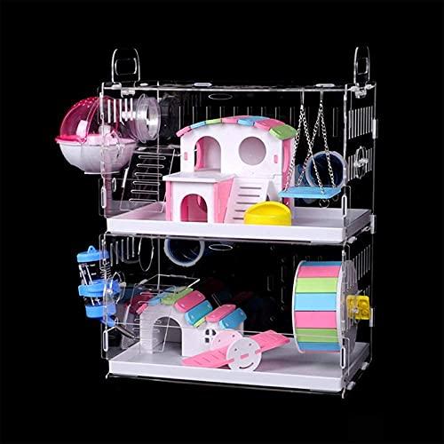 Nynelly Jaula para hámster de 2 niveles con tubos de túnel cruzados, jaula transparente acrílica, accesorios incluidos, bicicleta de ejercicio, cuarto de baño exterior, hámster,30 x 20 x 40 cm, grande