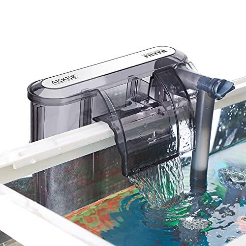 AKKEE Filtro per Acquario, Valvola di Flusso Regolabile, Acquario Sommergibile Filtro a Cascata Tipo di 200L / H Filtro Esterno, Adatto per Acquario da 20L ~ 60L (3,5W)