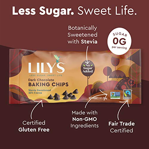 Premium Dark Chocolate Baking Chips by Lily's Sweets |Stevia Sweetened, No Added Sugar, Low-Carb, Keto Friendly | 55% Cacao | Fair Trade, Vegan, Gluten-Free & Non-GMO | 9 oz, 3 Pack
