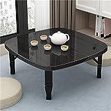 Tatami - Mesa de comedor pequeña para el hogar, mesa de comedor, mesa de comedor, ventana de bahía, cama plegable y pequeña (color: negro, tamaño: 60 x 35 x 60 cm)