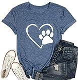 Camiseta para mujer con diseño de huellas de perro, manga corta, cuello en O - - Medium