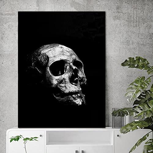 YYAYA.DS Impresión de Lienzo Carteles e Impresiones en Blanco y Negro Arte de Pared de Calavera Abstracta Moderna imágenes artísticas nórdicas para decoración del hogar 60x90cm