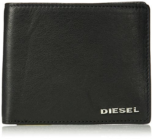 Diesel Men's Fresh Starter Neela Small Leather Bifold Wallet, black/orange pepper, One...