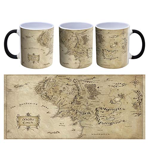 Lord of The Rings Middle Earth Map Heat Changing Ceramic Coffee Mug - 300ml