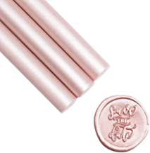 UNIQOOO Flexible Glue Gun Sealing Wax Sticks for Wax Seal Stamp - Metallic Champagne Rose, Great for Wedding Invitations, Cards Envelopes, Snail Mails, Wine Packages, Gift Ideas, Pack of 8