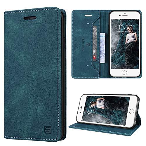 GANKER Funda para iPhone 7/ iPhone 8/ iPhone SE 2020 con Tapa Funda iPhone 6/6S Libro con Bloqueo RFID Funda de Cuero Premium Magnético Tarjetero y Suporte Carcasa iPhone 6/6S/7/8/SE 2020 - Azul verde