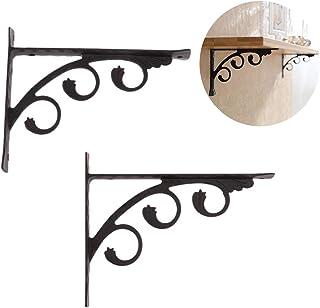 1 Pair Of Antique Shelf Bracket Angle Shelf Bracket Wall Mounted Corner Brace Cast Iron Black