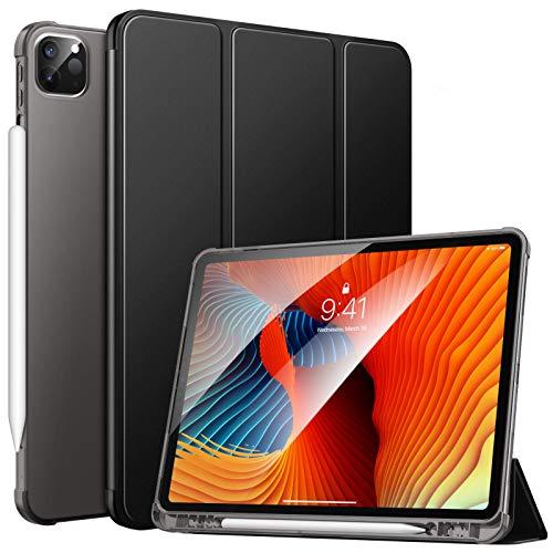 MoKo Funda Compatible con Nuevo iPad Pro 12.9 2021/2020, iPad Pro 12.9 5.ªGeneración[Admite Carga iPencil] Funda de Cubierta con Soporte Porta Bolígrafa y Carcasa Trasera de TPU Translúcido, Negro