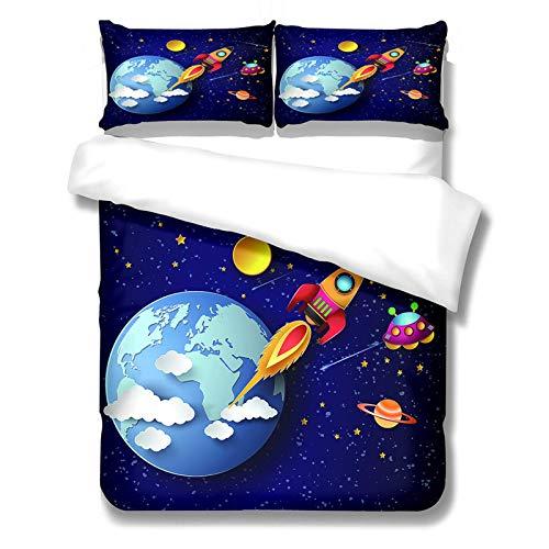 CCBAO Space Planet Traum Bettbezug 3-Teiliges Set Blau Lila Bettwäsche Geeignet Für...