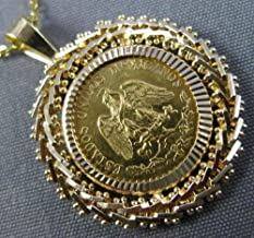 22KT & 14KT YELLOW GOLD HANDCRAFTED 1945 DOS PESOS MEXICAN COIN PENDANT
