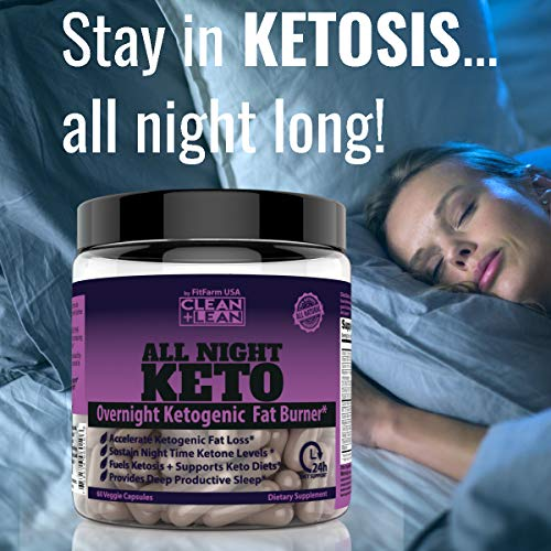 CLEAN+LEAN ALL NIGHT KETO: First Ever Overnight Ketogenic Fat Burner & Sleep Aid | BHB Ketones + MCT Oil + Vitamins & Immunity Complex | 24 HR Diet Sleep Great Lose Weight | All Natural & GF | 60 Caps 9