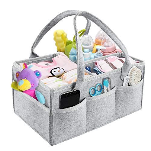 M MUNCASO Baby Windel Caddy Organizer, tragbarer Auto Reise Organizer Faltbare Filz Aufbewahrungstasche mit mehreren Taschen und flexiblen Fächern