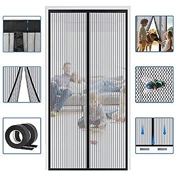 Reinforced Widen Magnetic Screen Door - 39×82 Inches Heavy Duty Hands Free Full Frame Hook&Loop Screen Door  Black
