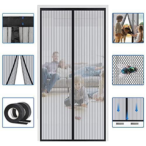 Reinforced Widen Magnetic Screen Door - 39×82 Inches Heavy Duty Hands Free Full Frame Hook&Loop Screen Door (Black)