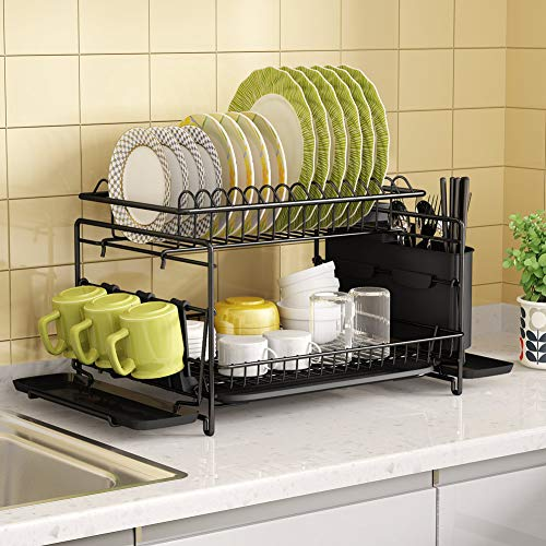 Dish Drying Rack, 1Easylife 2 Tier Large Kitchen Dish Rack with Removable Drainboard, Utensil Holder and Cup Holder, Rustproof Nano Coating Dish Drainer for Kitchen Counter, Dish Dryer Shelf