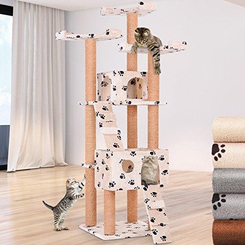 Leopet Kratzbaum zum Spielen, Schlafen und Relaxen - 171 cm hoch, mit Zwei Höhlen und 3 Plattformen, Farbwahl - Katzenbaum, Katzenkratzbaum, Kletterbaum