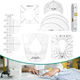 Quilting Ruler Templates, TAOZIM 6Pcs Acrylic Sewing Machine Kits Quilting Templates w/ 1Pc Measuring Tape Free Motion Quilting Grip Template DIY Rulers Includes Spiral, Simple Circle, Arc, Clamshell
