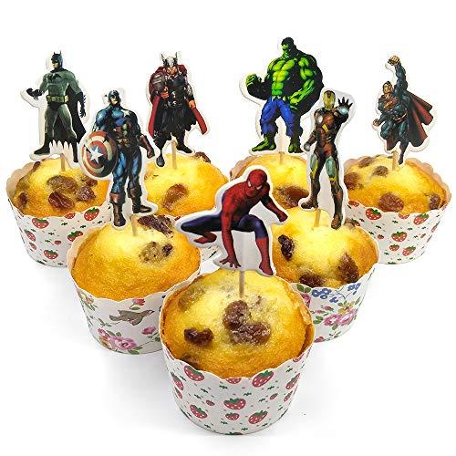 v39buy 28pcs Superhero Cupcake Toppers - Cake Toppers For Children...