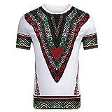 YWLINK Hombre Estilo Nacional Moda Impresa Africana Camiseta Manga Corta Camisa Informal Top Blusa D...