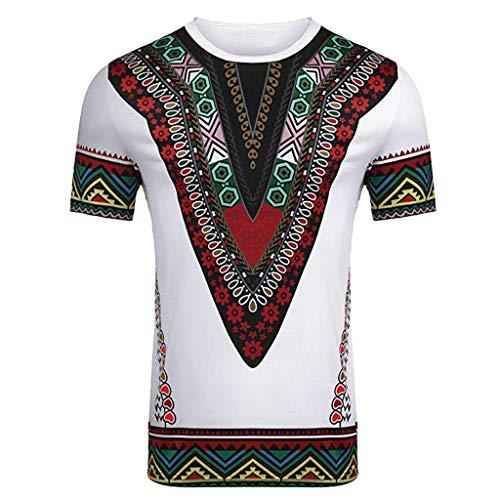 YWLINK Hombre Estilo Nacional Moda Impresa Africana Camiseta Manga Corta Camisa Informal Top Blusa Deportes Al Aire Libre Fiesta Actividad Rendimiento(Blanco,L)