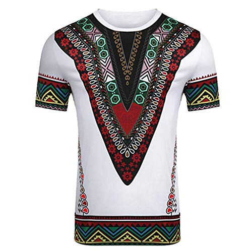 YWLINK Hombre Estilo Nacional Moda Impresa Africana Camiseta Manga Corta Camisa Informal Top Blusa Deportes Al Aire Libre Fiesta Actividad Rendimiento(Blanco,M)