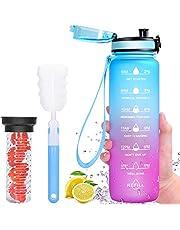 Favofit Waterfles met tijdmarkering, 1L motiverende waterfles met fruitzuiger filter en reinigingsborstel, BPA-vrij Tritan kunststof, 1 klik open, geweldig voor fitness, gym outdoor sport