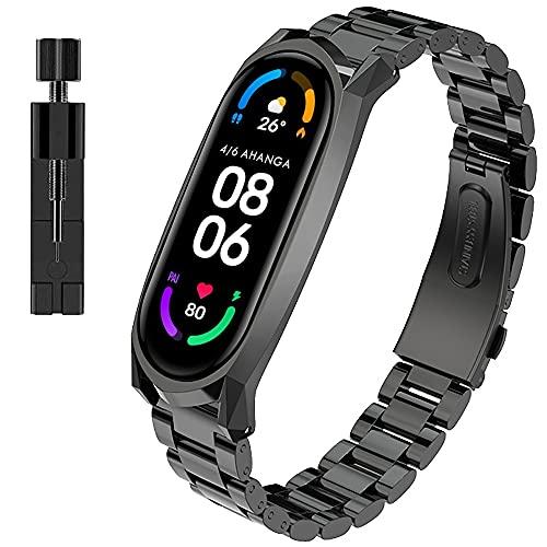 AHANGA für Xiaomi Mi Band 5 Armband, Metall MiBand 5 Ersatzband mit Entfernungswerkzeug Ersatzarmband Edelstahl Replacement Wrist Xiao Mi Fit Smart Band Watch Strap Fitnessarmband Uhrenarmband