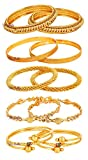 Youbella Gold Alloy Combo Of 5 Bangle Set For Women