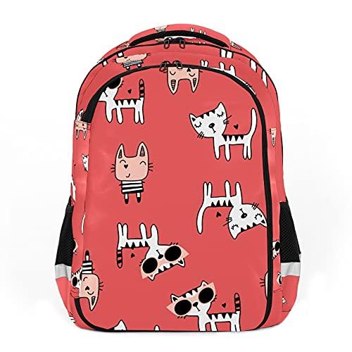 Mochilas de viaje para adultos, mochilas escolares, mochilas adecuadas para todas las edades, mochilas infantiles Cartoon Happy Cats con gafas de sol - Dibujado a mano Pet Rojo