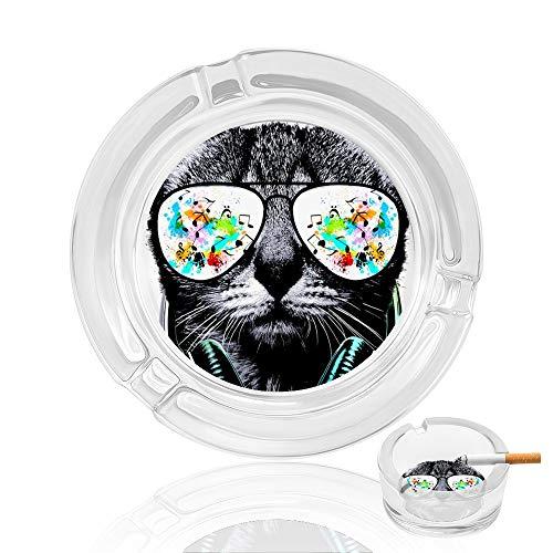 Cenicero de cristal con gatos con gafas, cenicero para interiores y exteriores, jardín, bandeja de cenizas de cigarrillos, duradera para fumar, gran regalo para marido, fumadores, decoración de hotel