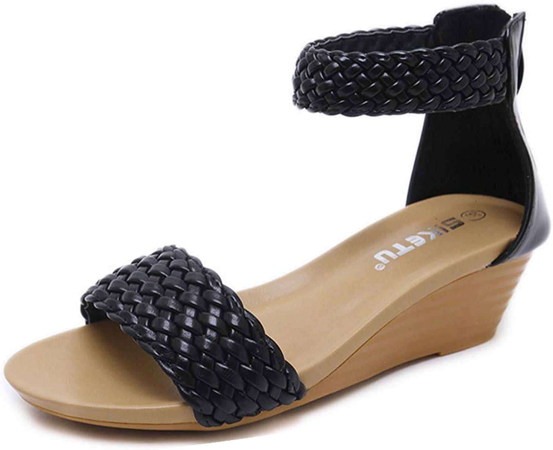 GIY Women's Open Toe Wedge Sandals Ankle Strap Heel Sandal Platform Low Heels Dress shoes