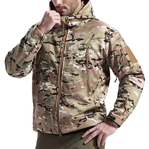 FREE SOLDIER Winterjacke Herren Herbst Fleece Gefütterte Softshell Jacke Outdoor wasserdichte Skijacke Taktische Wanderjacke für die Jagd Camping Ski(CP Camouflage,S)