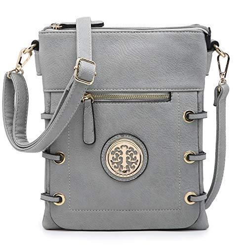 Dasein Women Double Zipper Compartment Crossbody Bag Lightweight Shoulder Purse with Multi Pockets (Grey)