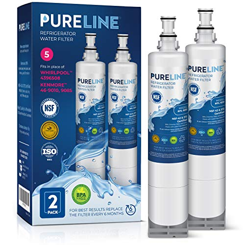 Pureline 4396508 & EDR5RXD1 Water Filter Replacement for Whirlpool 4396508, 4396510, WRS322FDAM04, Every Drop Filter 5, EDR5RXD1, NLC240V, PNL240V, 4396508p,4396510p, Kenmore 46-9010, 9085 (2 Pack)