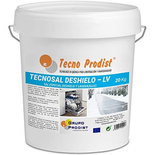 TECNOSAL DESHIELO (20 Kg) sal especial para derretir hielo y nieve en invierno, descongelación ideal para caminos, entradas, aparcamientos o carreteras, doble uso, Sal Lavavajillas, en cubo