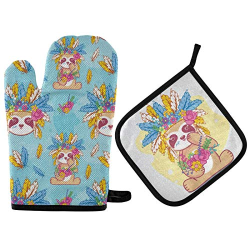 Mother's Day Tribal Sloth Oven Mitts & Pot Holders 2pcs Boho Feather Flower Hats Kitchen Heat Resistant Non-Slip Oven Gloves for Women Cooking Baking BBQ