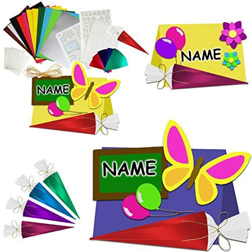 alles-meine.de GmbH 3D Effekt - Bastelset - 10 TLG. Set - Tischkarten / Namenskarten / Platzkarten - inkl. Name - Schulanfang - Schuleinführung / Schule - Namensschilder - Kinder..